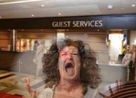 screaming woman guest services